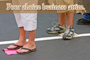 Flips flops poor choice for professional image or dressing for career success.
